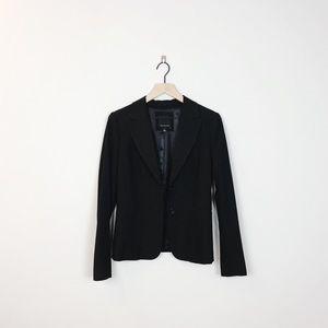 The Limited | black white pinstripe button blazer